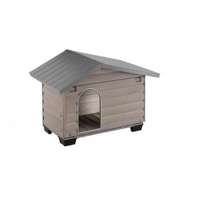Cuccia per cani da esterno in legno di pino nordico ecologico con griglia di ventilazione