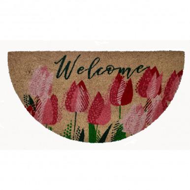 Zerbino in cocco stampato mezzaluna cm.70x40 Welcome con tulipani