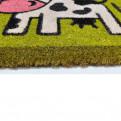 Zerbino in cocco Home stampato con mucca cm. 70x40 da ingresso interno ed esterno