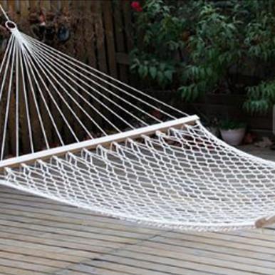 Amaca a rete in filo diametro 3 mm con asse in legno