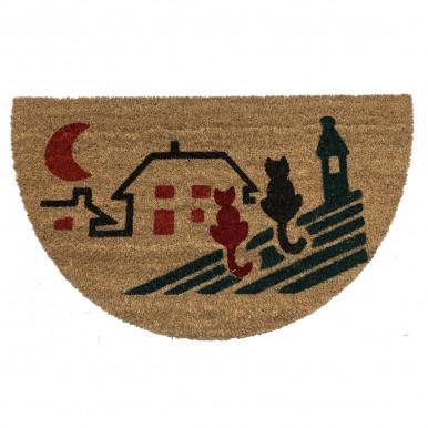 Zerbino in cocco naturale mis. 70X40 con stampa gatti sui tetti