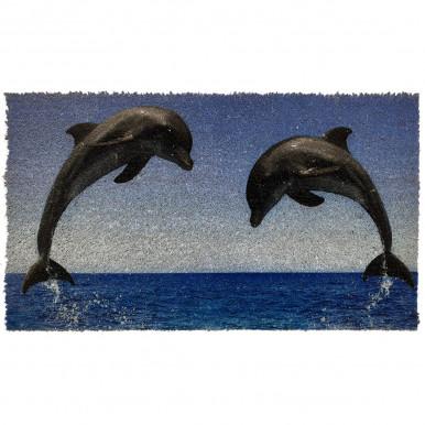 Zerbino in cocco con stampa mare e delfini cm. 70x40