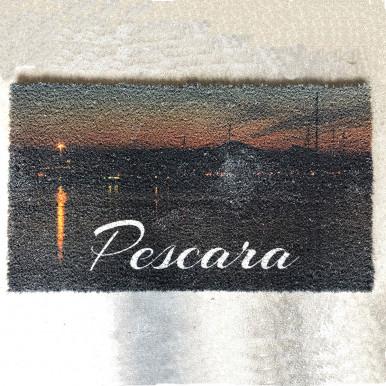 Zerbino in cocco con stampa tramonto sul fiume cm. 70x40