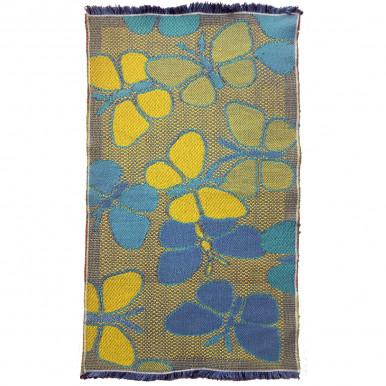 Tappeto arredo in cotone tessuto a mano 55x100 farfalle