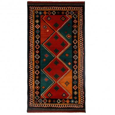 Tappeto design etnico con rombi antimacchia cm. 150x80